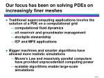 our focus has been on solving pdes on increasingly finer meshes