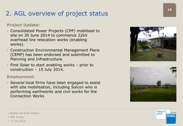 2. AGL overview of project status