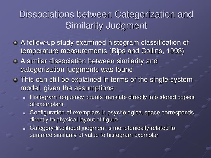 Dissociations between Categorization and Similarity Judgment
