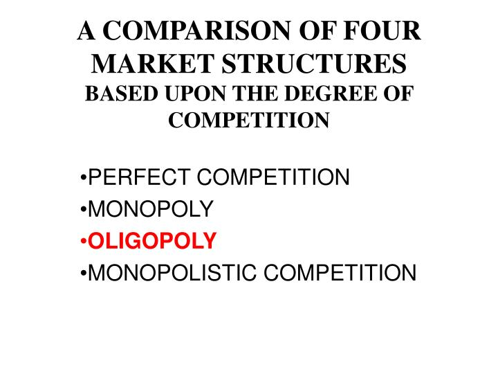 a comparison of four market structures based upon the degree of competition n.
