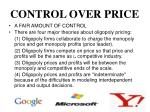 control over price