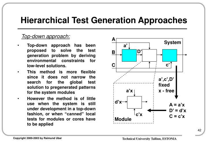 Hierarchical Test Generation Approaches