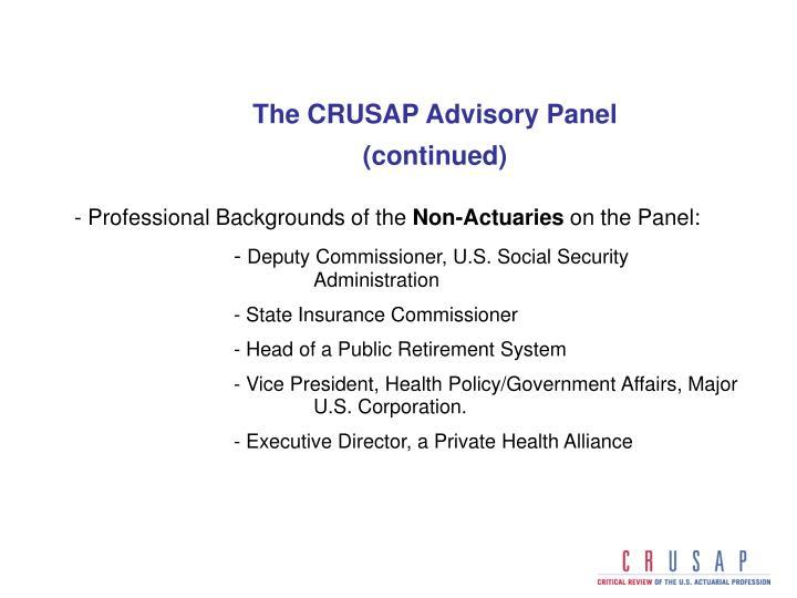 The CRUSAP Advisory Panel