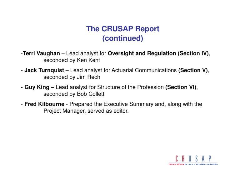 The CRUSAP Report
