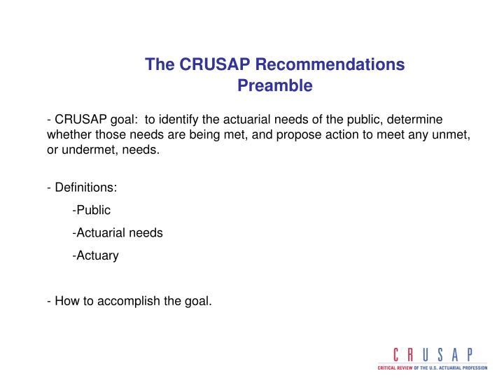 The CRUSAP Recommendations