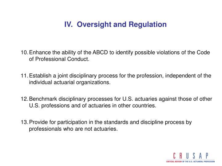 IV.  Oversight and Regulation