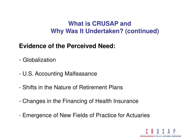 What is CRUSAP and