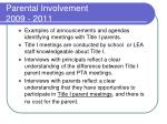 parental involvement 2009 20111