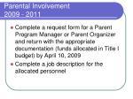 parental involvement 2009 20112