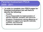 parental involvement pdca 2009 20111