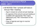 parental involvement pdca 2009 20115
