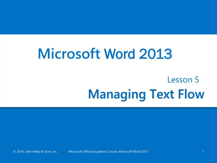 Managing text flow