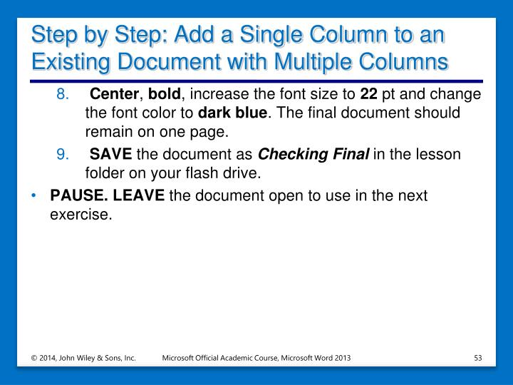 Step by Step: Add a Single Column to an Existing Document with Multiple Columns