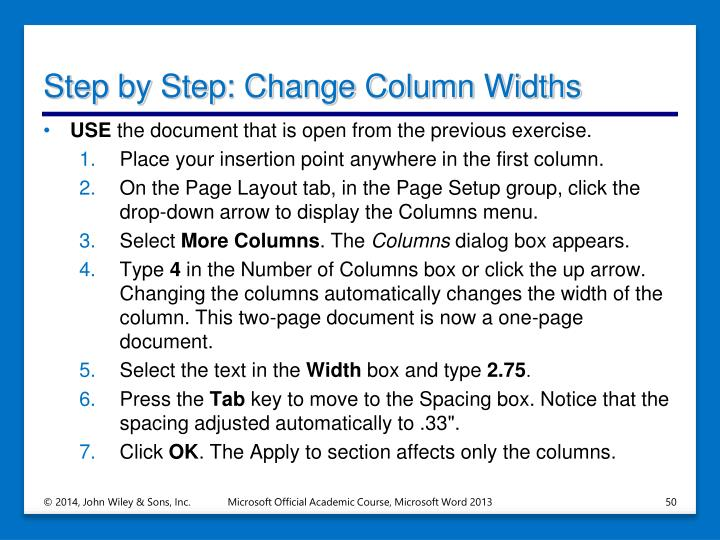 Step by Step: Change Column Widths