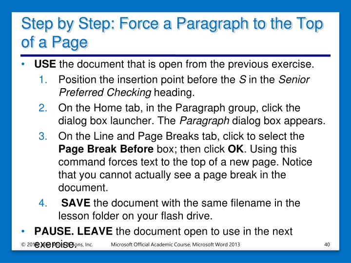 Step by Step: Force a Paragraph to the Top of a Page