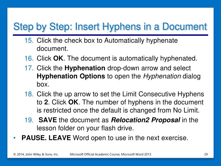 Step by Step: Insert Hyphens in a Document