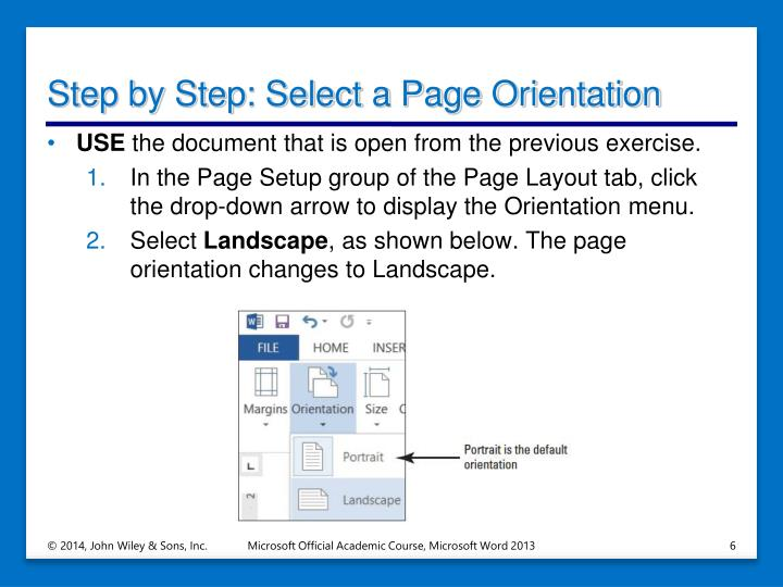 Step by Step: Select a Page Orientation