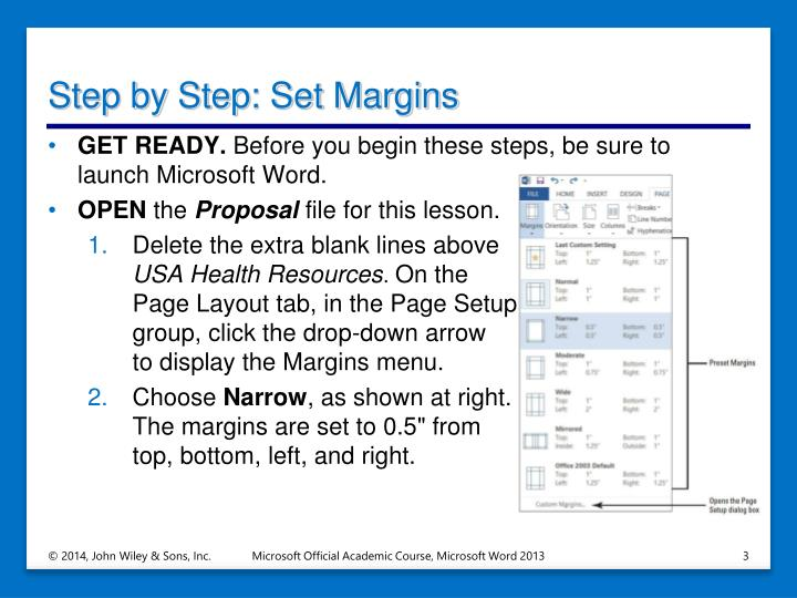 Step by step set margins