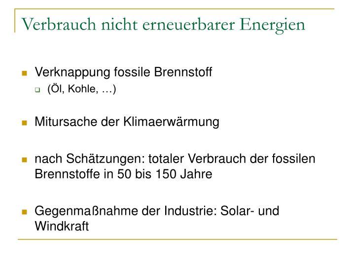Verbrauch nicht erneuerbarer Energien