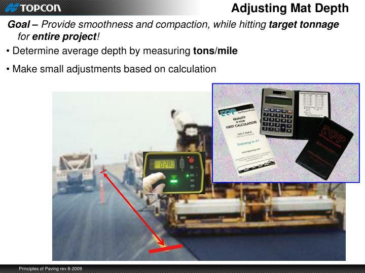 Adjusting Mat Depth