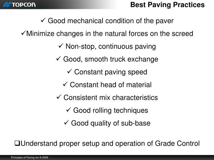 Best Paving Practices