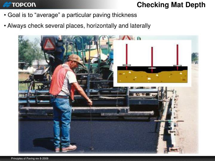 Checking Mat Depth