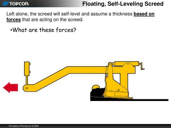 Floating, Self-Leveling Screed