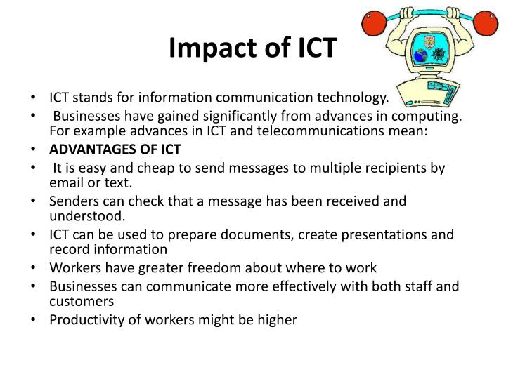 ict advancement essay Essay on transforming nursing and healthcare through information technology - adoption of new technology systems presently there are many advancements taking place in healthcare within the information technology arena, which are helping to bring about a safer, more streamlined health care environment.