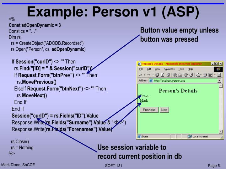 Example: Person v1 (ASP)