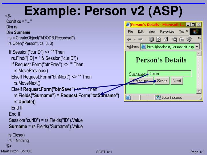 Example: Person v2 (ASP)