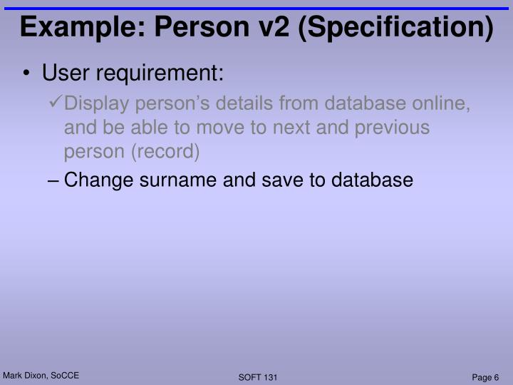 Example: Person v2 (Specification)