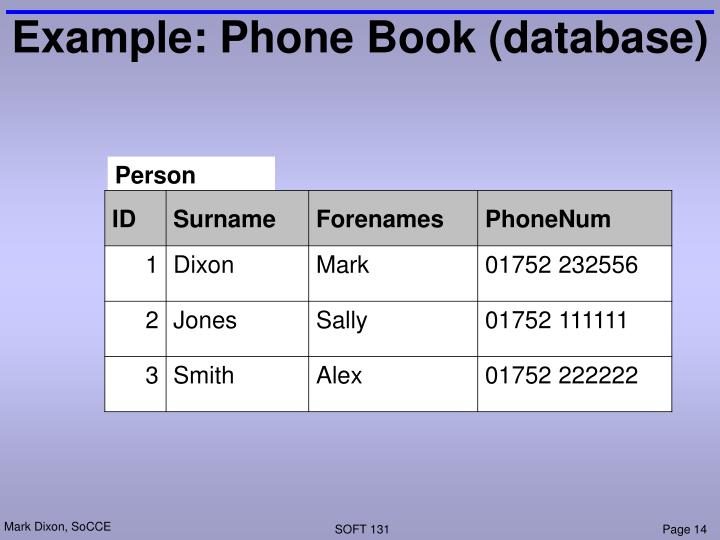 Example: Phone Book (database)