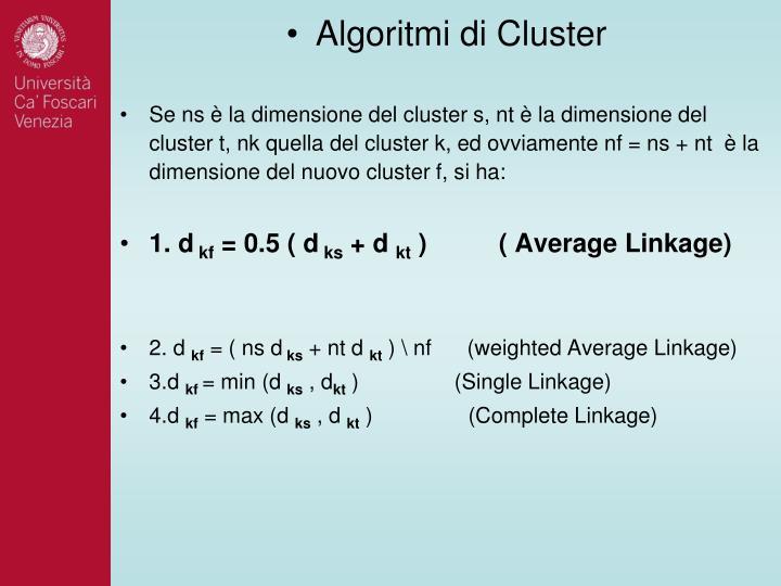 Algoritmi di Cluster