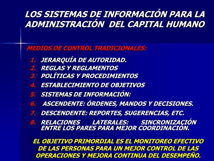 LOS SISTEMAS DE INFORMACIÓN PARA LA ADMINISTRACIÓN  DEL CAPITAL HUMANO