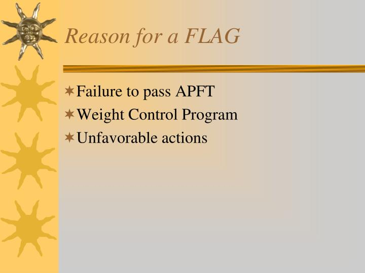 Reason for a FLAG