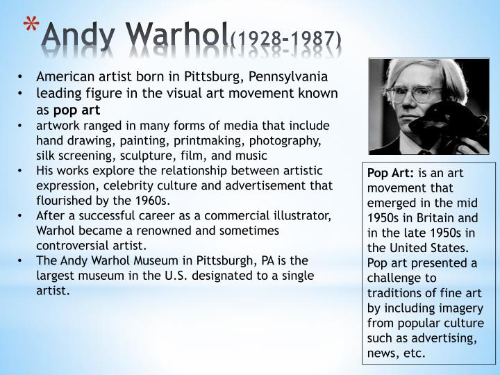 Andy warhol 1928 1987