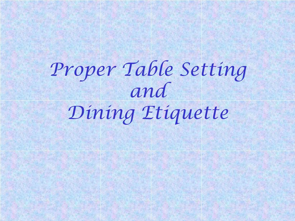 Table Setting And Dining Etiquette