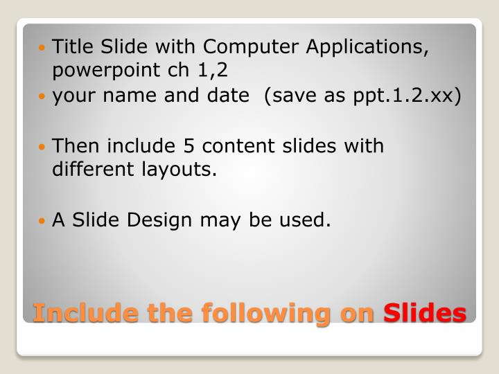 Title Slide with Computer Applications,