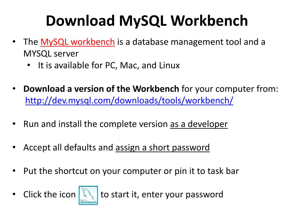 PPT - Creating D atabases with MySQL Workbench PowerPoint