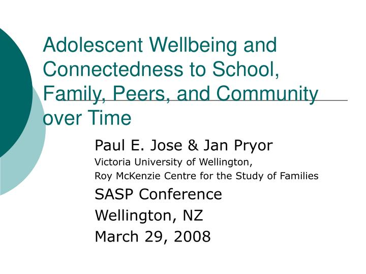 adolescent wellbeing and connectedness to school family peers and community over time n.