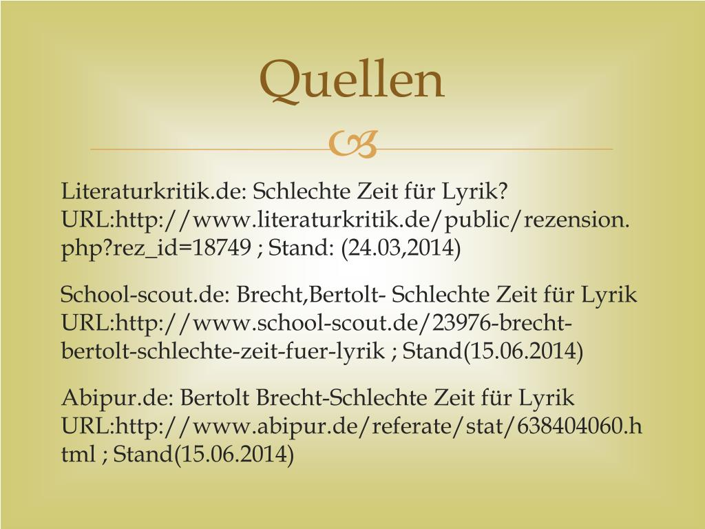 Ppt Bertolt Brecht Schlechte Zeit Für Lyrik Powerpoint