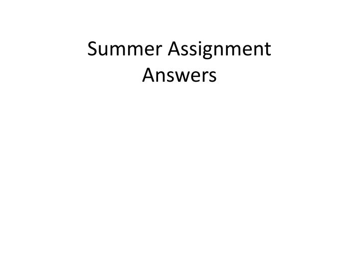 summer assignment answers n.
