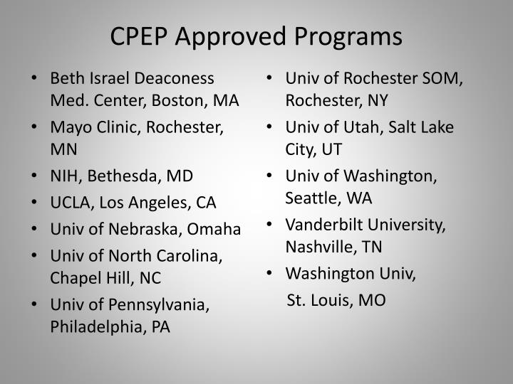 CPEP Approved Programs