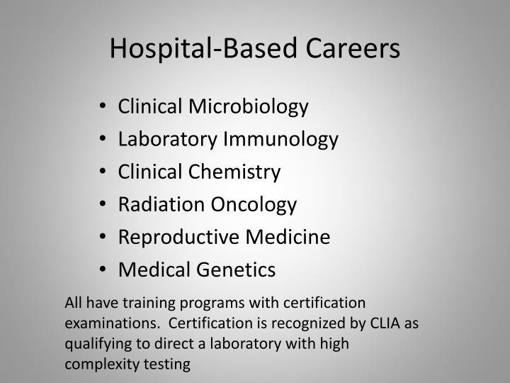Hospital based careers