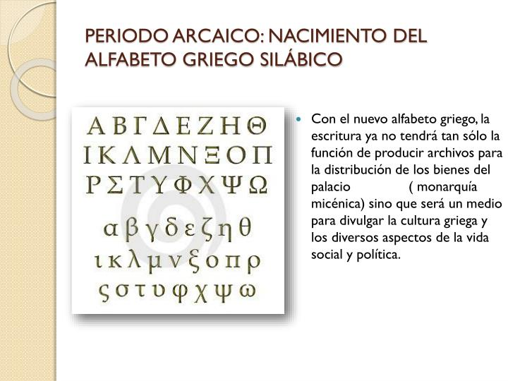 PERIODO ARCAICO: NACIMIENTO DEL ALFABETO GRIEGO SILÁBICO