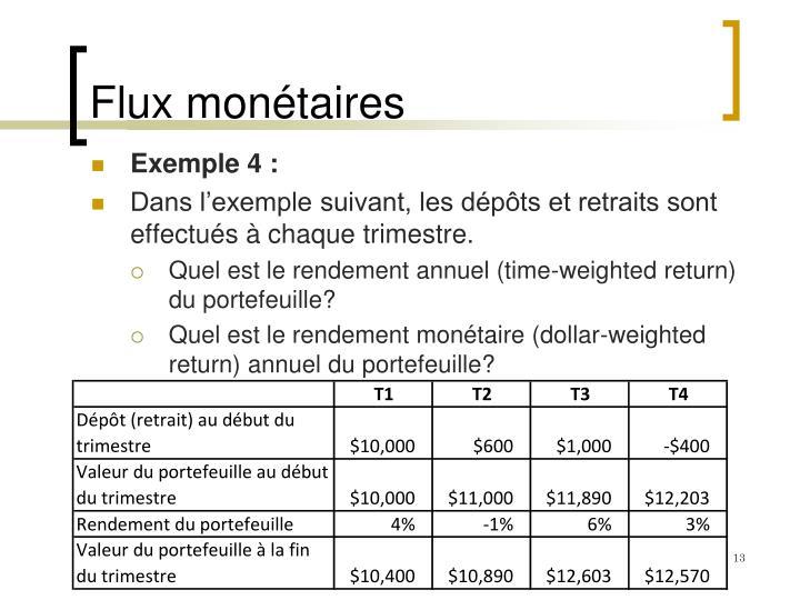 Flux monétaires