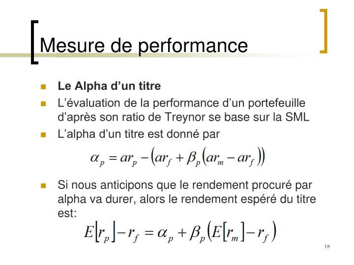 Mesure de performance