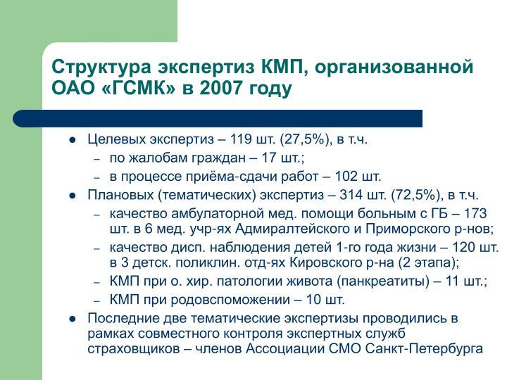 Целевых экспертиз – 119 шт. (27,5%), в т.ч.