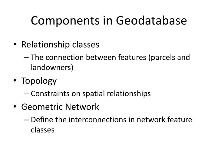 Components in Geodatabase