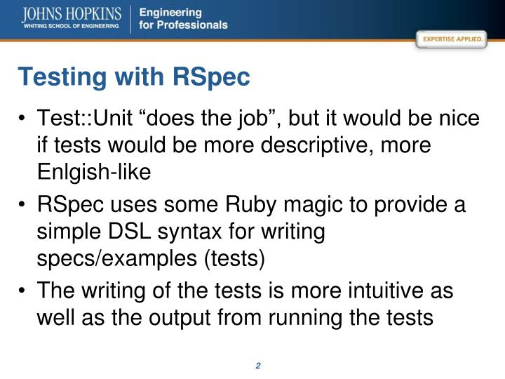 Testing with rspec